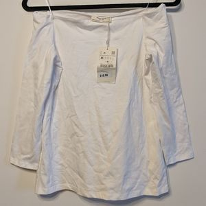 NWT Zara off-shoulder, 3/4 sleeve jersey top